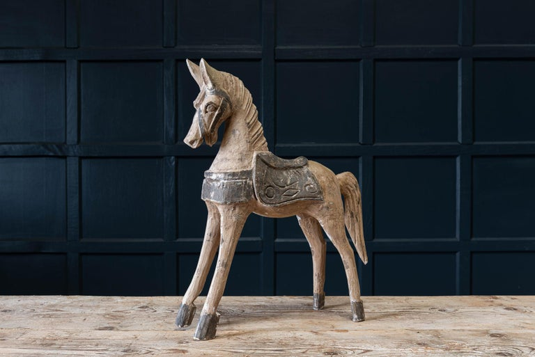 19th Century French Polychrome Carved Horse Sculpture In Good Condition For Sale In Harrogate, GB