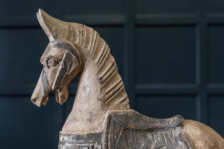 Wood 19th Century French Polychrome Carved Horse Sculpture For Sale