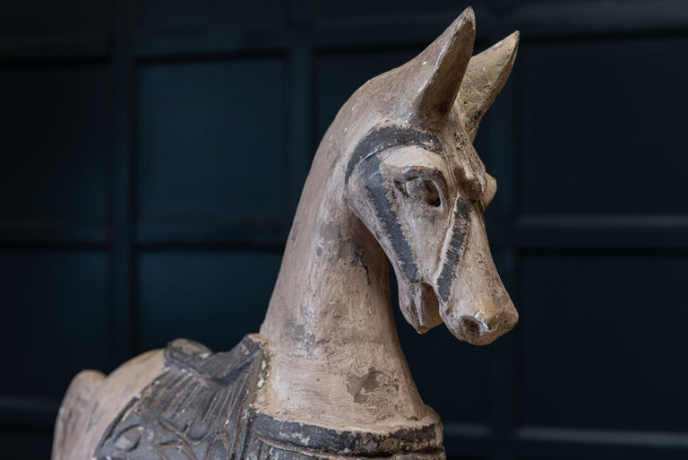 19th Century French Polychrome Carved Horse Sculpture For Sale 1
