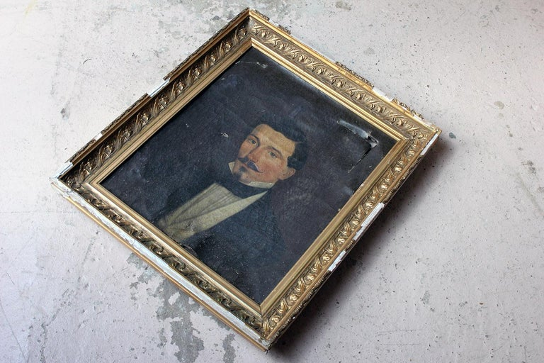 French School Oil on Canvas Portrait of a Moustachioed Gentleman, circa 1870 5