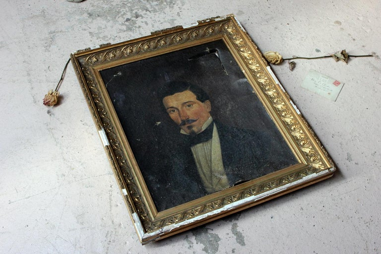 French School Oil on Canvas Portrait of a Moustachioed Gentleman, circa 1870 7