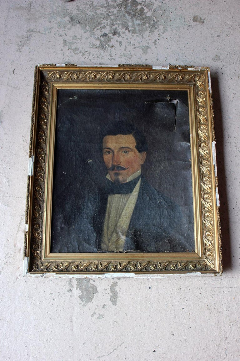 French School Oil on Canvas Portrait of a Moustachioed Gentleman, circa 1870 9