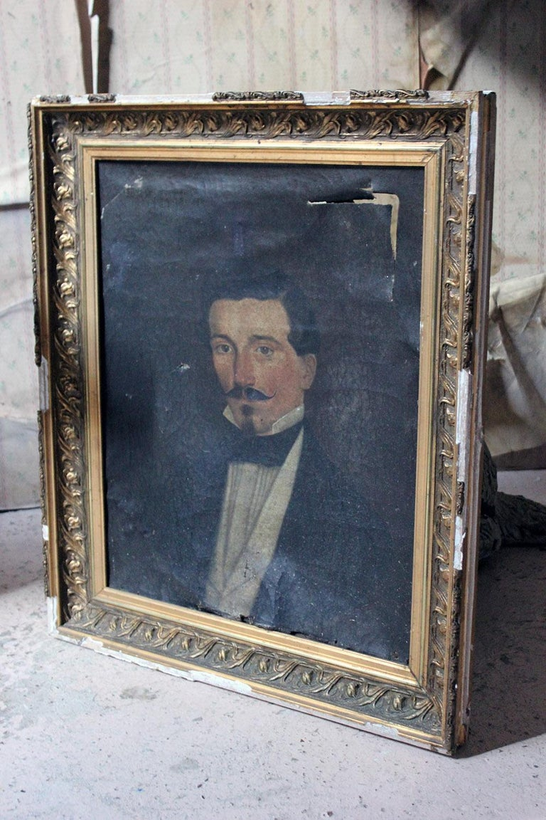 French School Oil on Canvas Portrait of a Moustachioed Gentleman, circa 1870 11