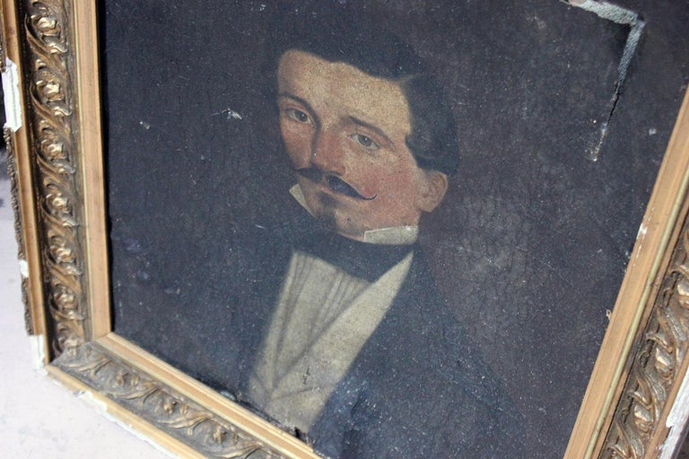 French Provincial French School Oil on Canvas Portrait of a Moustachioed Gentleman, circa 1870