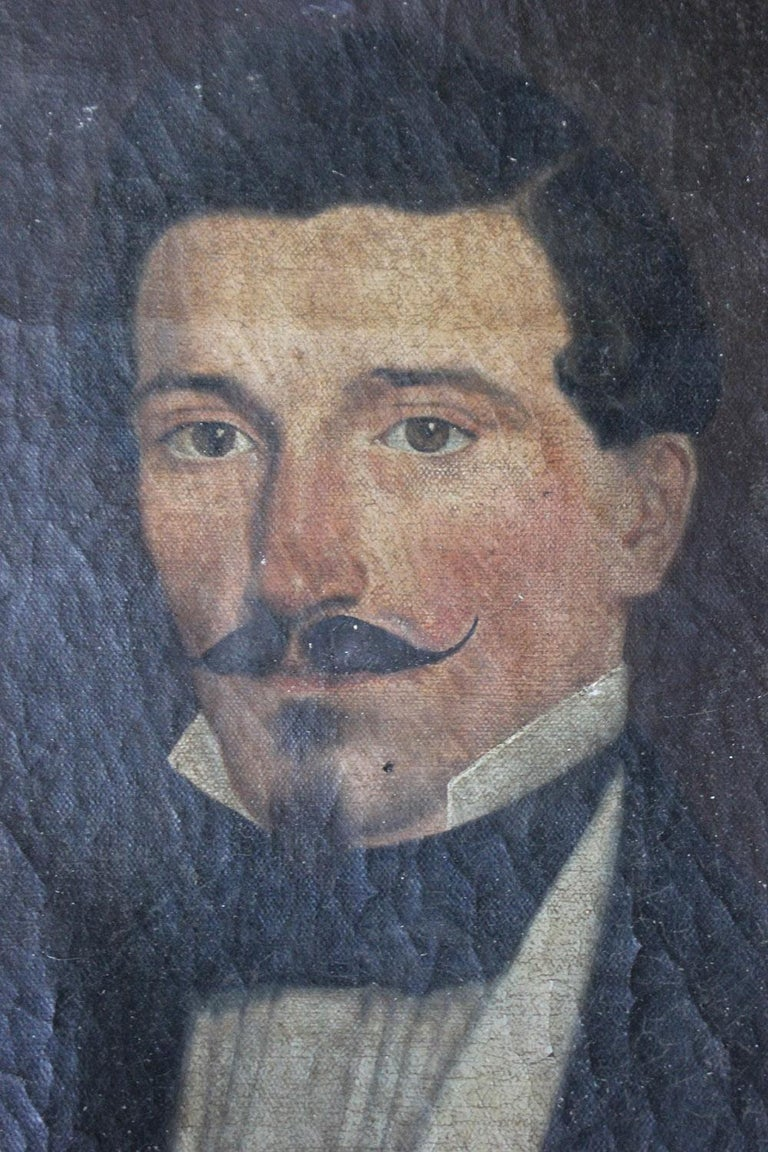 French School Oil on Canvas Portrait of a Moustachioed Gentleman, circa 1870 2