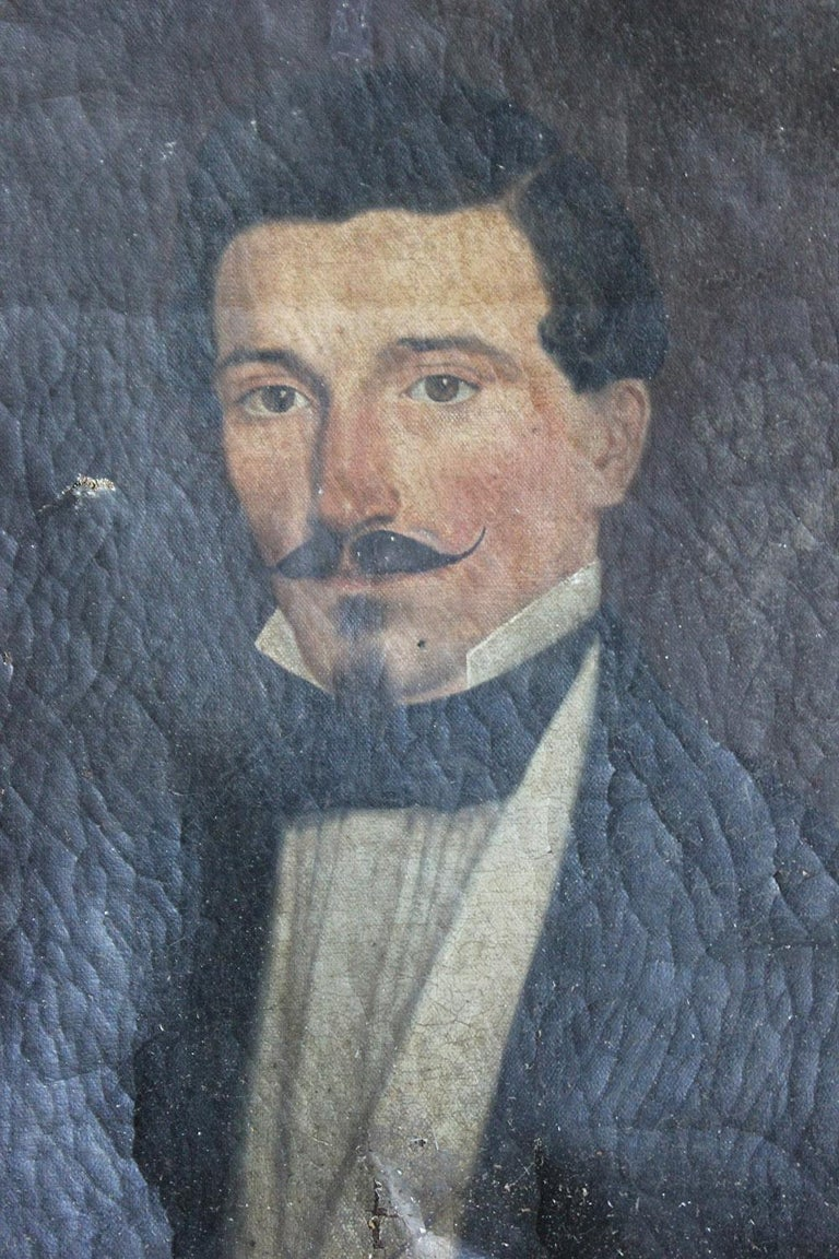 French School Oil on Canvas Portrait of a Moustachioed Gentleman, circa 1870 3