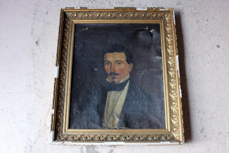 French School Oil on Canvas Portrait of a Moustachioed Gentleman, circa 1870 4