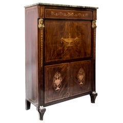 19th Century French Secretaire a`Abbattant with a Marble Top, circa 1830