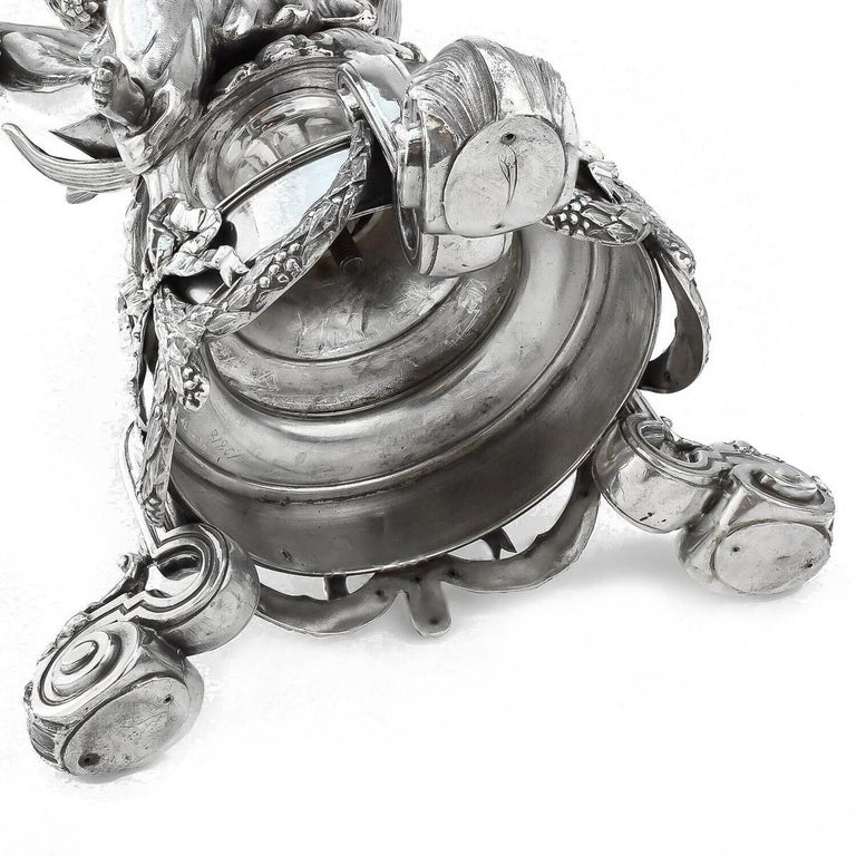 19thC French Solid Silver & Glass Figural Comport Centrepiece, c.1890 In Good Condition For Sale In London, London