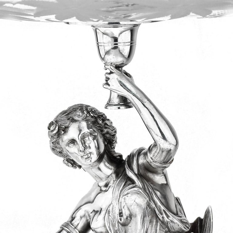 19th Century 19thC French Solid Silver & Glass Figural Comport Centrepiece, c.1890 For Sale