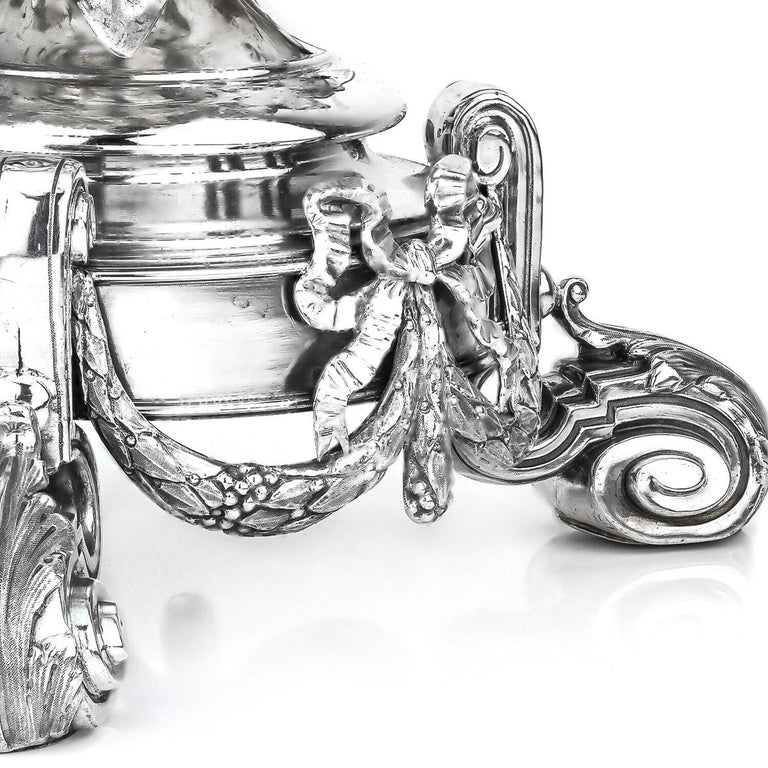 19thC French Solid Silver & Glass Figural Comport Centrepiece, c.1890 For Sale 2