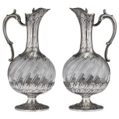 19th Century French Solid Silver and Glass Pair of Claret Jugs, Odiot circa 1890