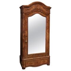 19thc French Walnut Mirror Armoire
