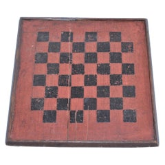 19th Century Game Board in Original Painted Bittersweet and Black Surface