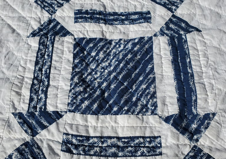 19thc Geometric Blue & White W/ Arrows & One Patch Quilt For Sale 2