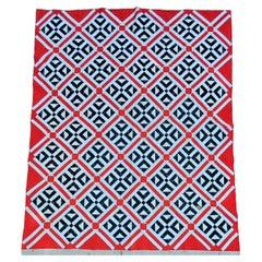 19Thc Geometric Patriotic Quilt in  Railroad Crossings