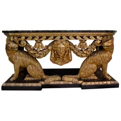 19th Century George II Style Painted and Gilded Console Table