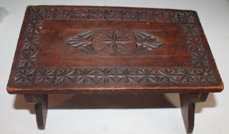 American 19th Century Hand Carved Foot Stool For Sale