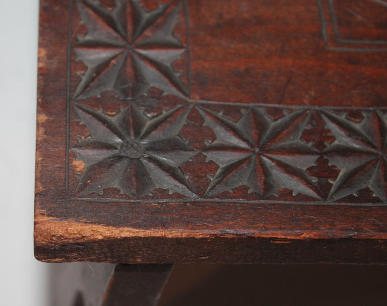 Hand-Carved 19th Century Hand Carved Foot Stool For Sale