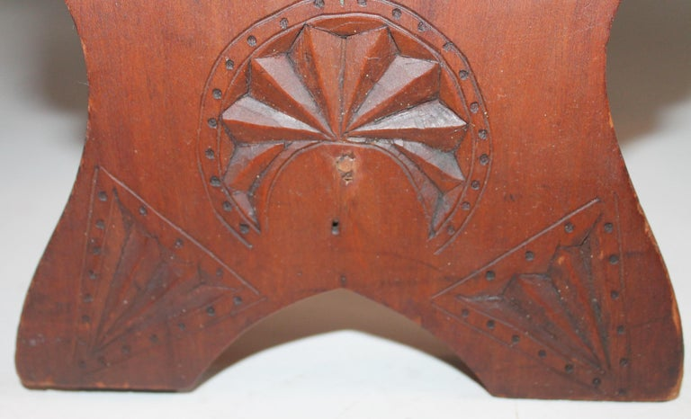 Walnut 19th Century Hand Carved Foot Stool For Sale