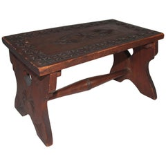 19th Century Hand Carved Foot Stool