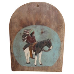 19th Century Hand Carved and Painted Indian and Rider Plaque