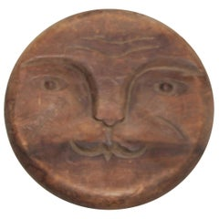 19th Century Hand Carved Wood Man in the Moon Face