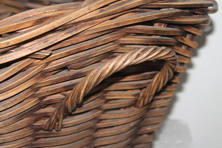 American 19th Century Handmade Double Handled Basket For Sale