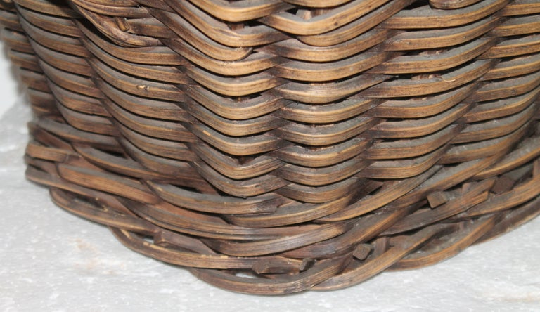 Hand-Crafted 19th Century Handmade Double Handled Basket For Sale