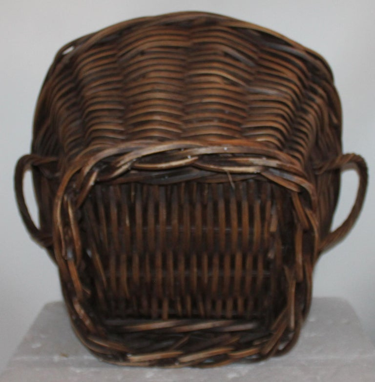 Wood 19th Century Handmade Double Handled Basket For Sale