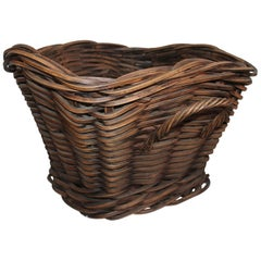 19th Century Handmade Double Handled Basket