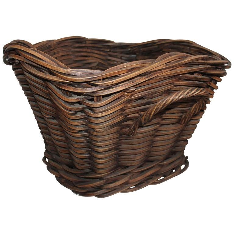 19th Century Handmade Double Handled Basket For Sale