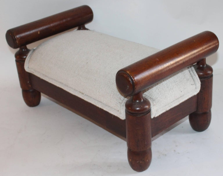 Country 19th Century Handmade Foot Stool with Homespun Upholstery For Sale