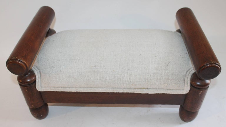 American 19th Century Handmade Foot Stool with Homespun Upholstery For Sale