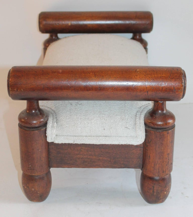 Hand-Crafted 19th Century Handmade Foot Stool with Homespun Upholstery For Sale