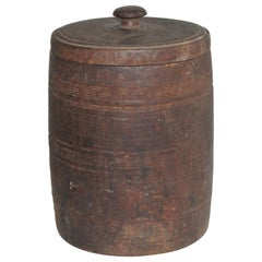 19th Century Handmade Wood Canister W/ Lid