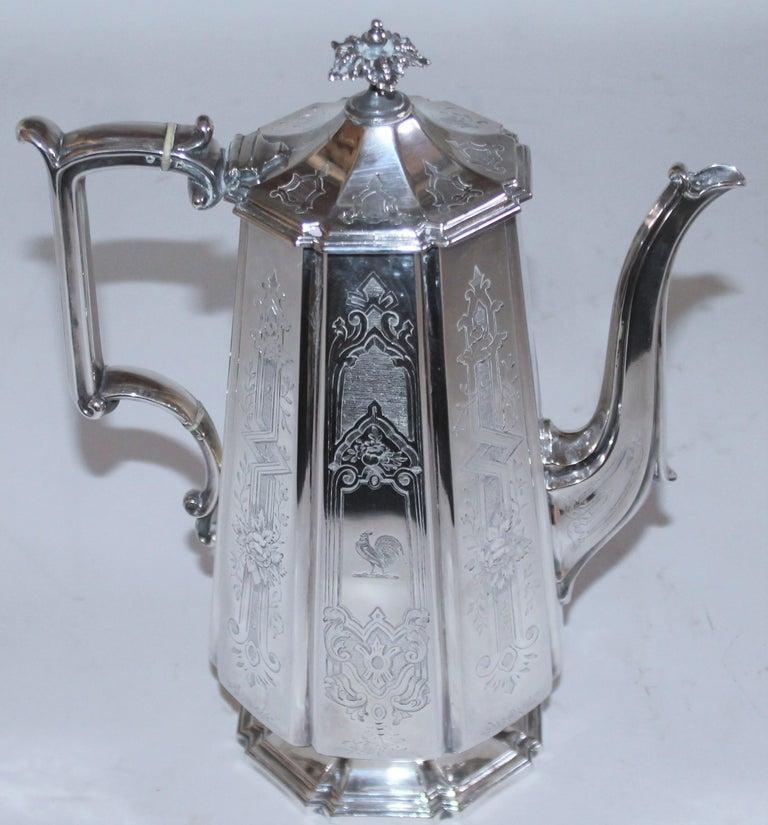 Victorian 19th Century Heavy Silver Coffee Pot For Sale