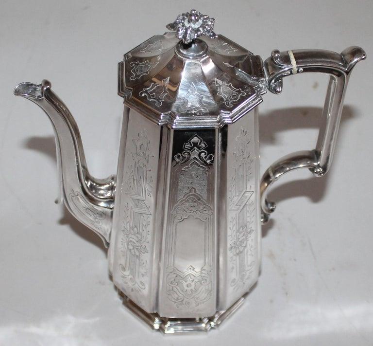 American 19th Century Heavy Silver Coffee Pot For Sale