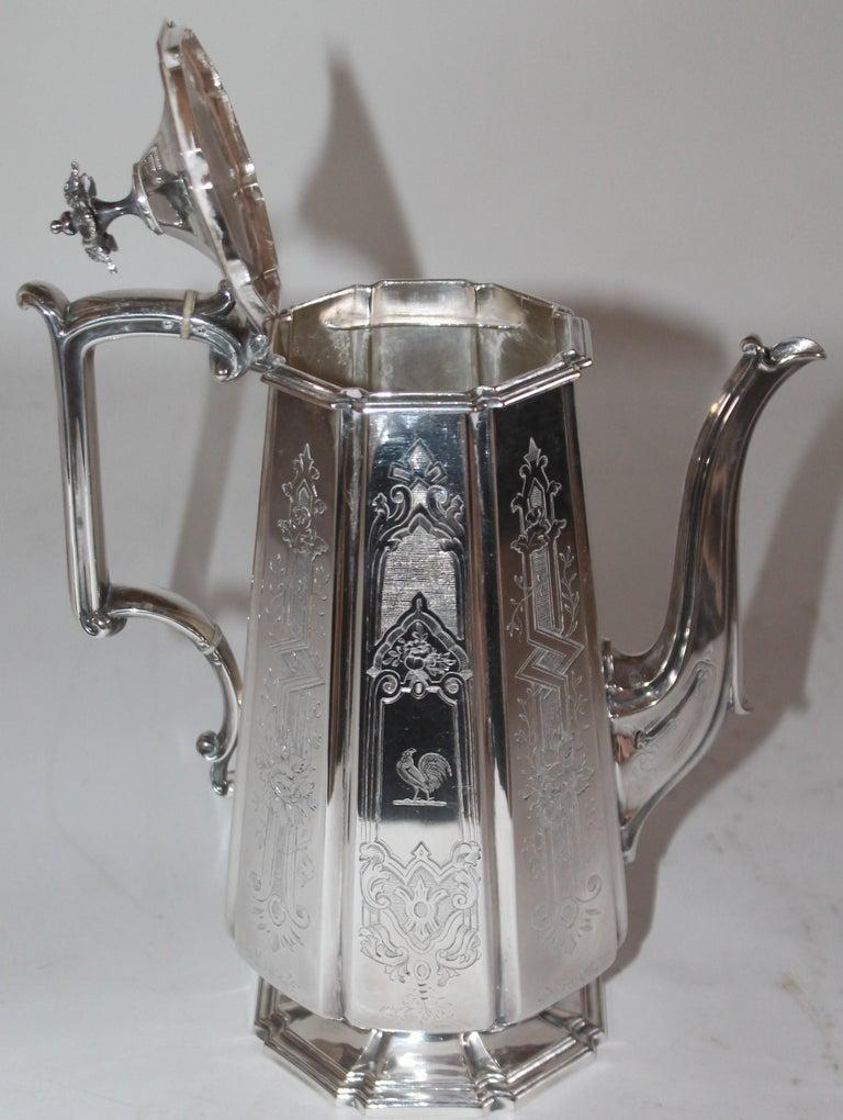 19th Century Heavy Silver Coffee Pot For Sale 2