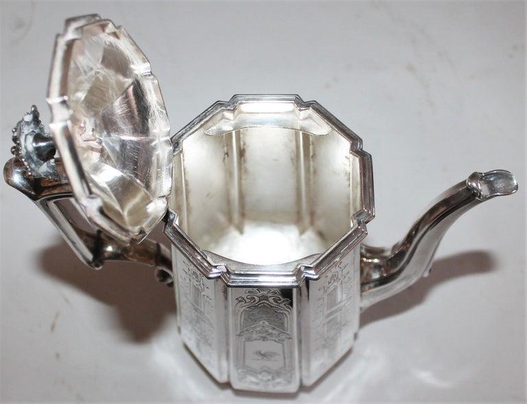 19th Century Heavy Silver Coffee Pot For Sale 3