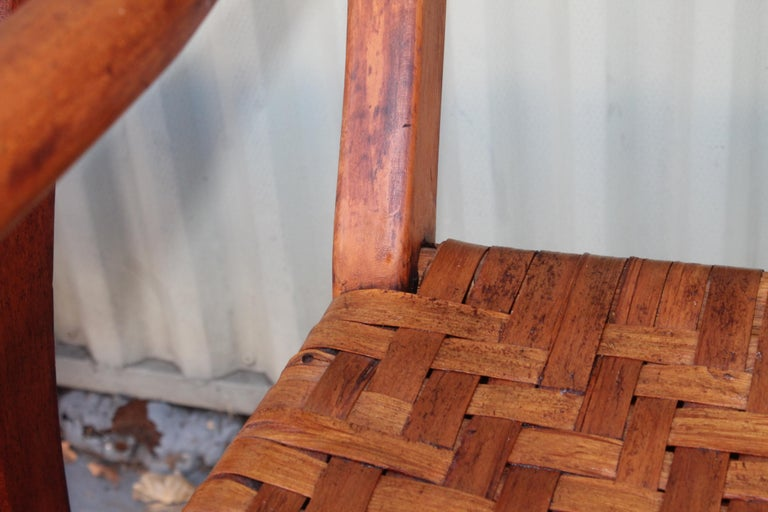 19th Century Hickory Chairs with Original Rush Seats, Pair For Sale 3