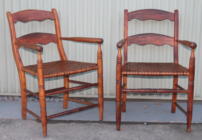 Adirondack 19th Century Hickory Chairs with Original Rush Seats, Pair For Sale