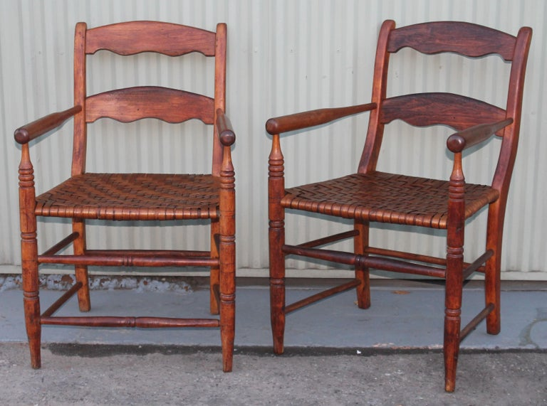 American 19th Century Hickory Chairs with Original Rush Seats, Pair For Sale
