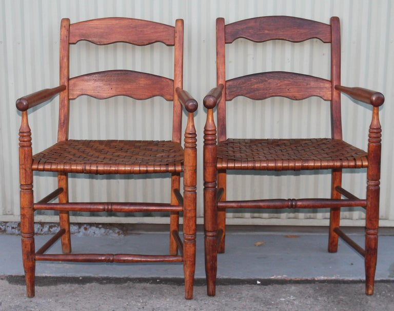 Hand-Crafted 19th Century Hickory Chairs with Original Rush Seats, Pair For Sale