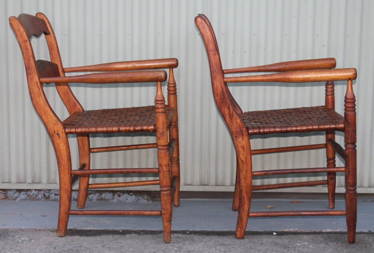 Rattan 19th Century Hickory Chairs with Original Rush Seats, Pair For Sale