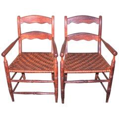 19th Century Hickory Chairs with Original Rush Seats, Pair
