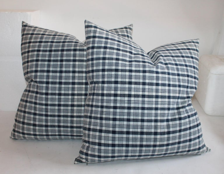 Country 19th Century Homespun Linen Blue and White Pillows, 2 Pairs For Sale