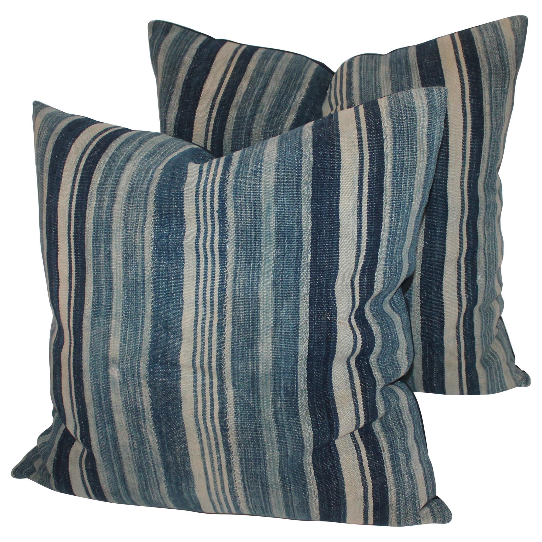 Pair of 19th Century Homespun Linen Pillows