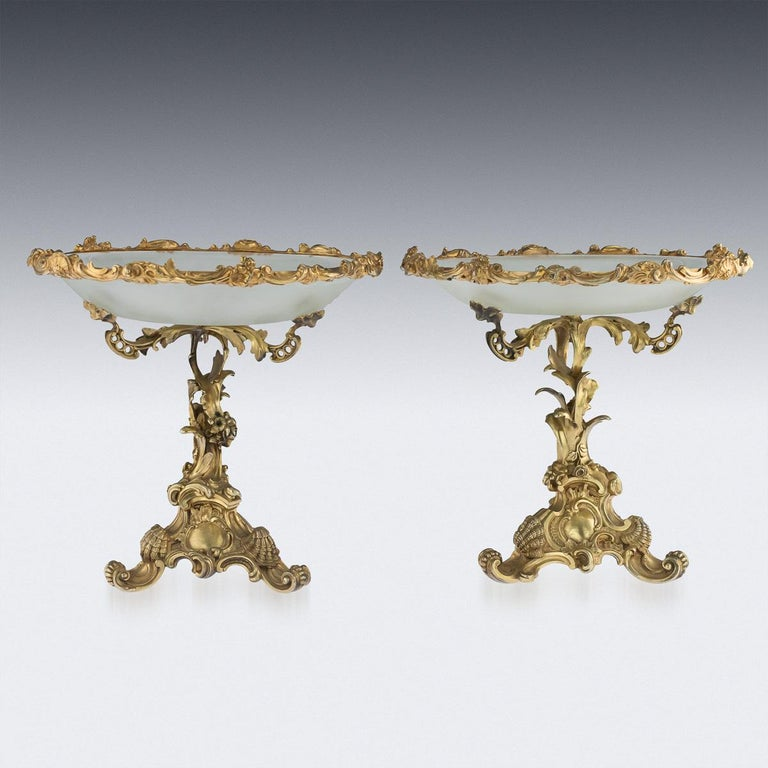 Antique 19th century imperial Russian solid silver gilt pair of tazza, of very elaborate design, cast with scrolls, shells and flowers in a French Rococo taste, mounted with a frosted glass dishes. Hallmarked Russian silver 84 (875 standard),