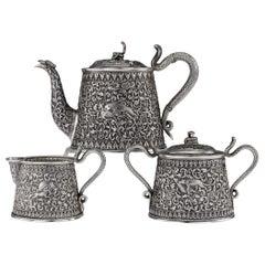 19th Century Indian Cutch Solid Silver 3 Piece Hunting Scenes Tea Set circa 1890